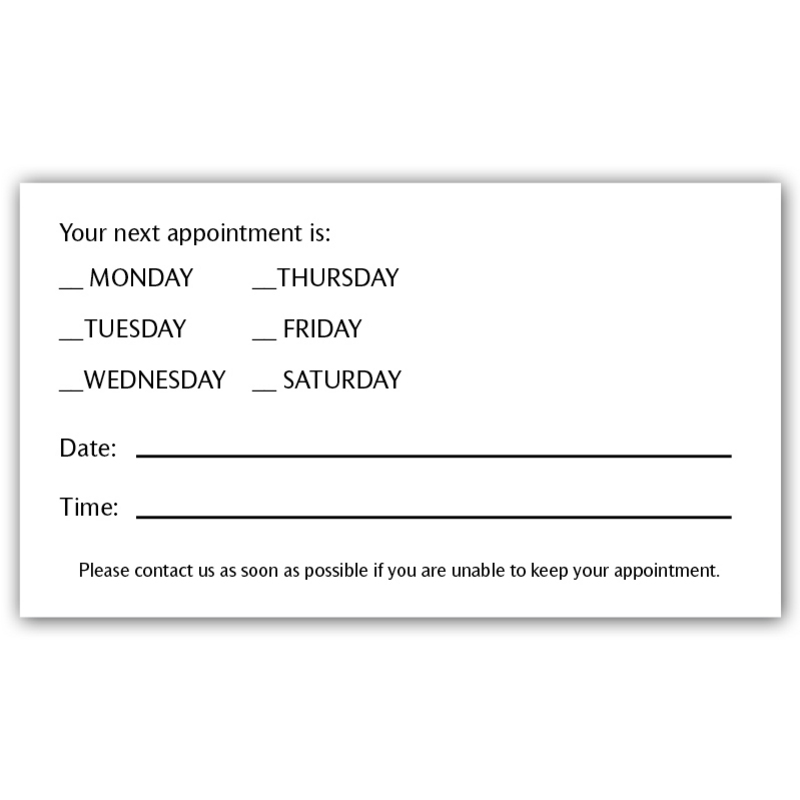 It is a graphic of Breathtaking Free Printable Appointment Reminder Cards