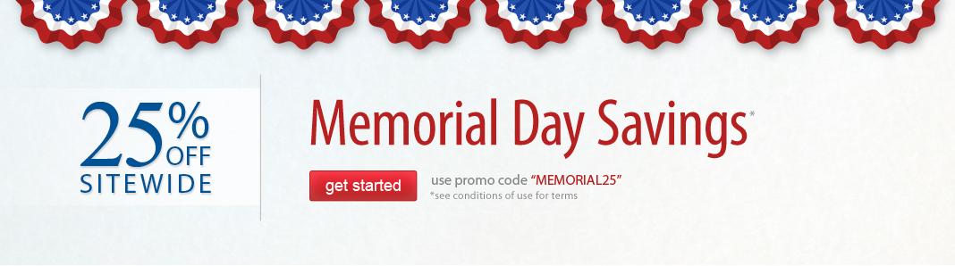Memorial Sale 25% off Site-wide*